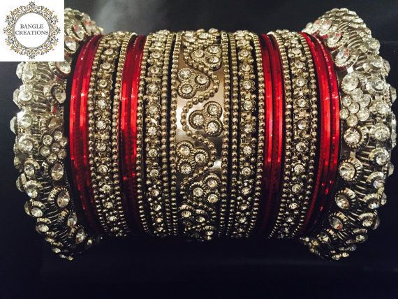 Anjali Bangle Stack (Silver) with Diamanté stones - 23 Bangles | Indian bracelet…