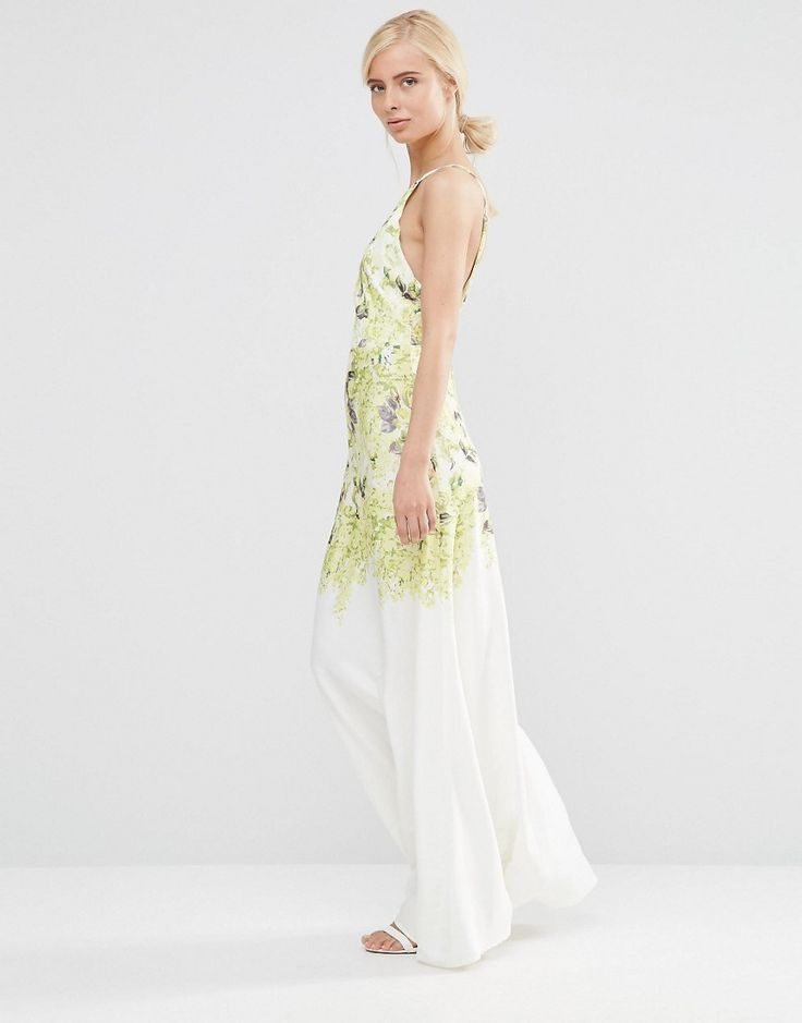 Image 1 ofHope And Ivy Square Neck Maxi Dress In Floral Placement Print