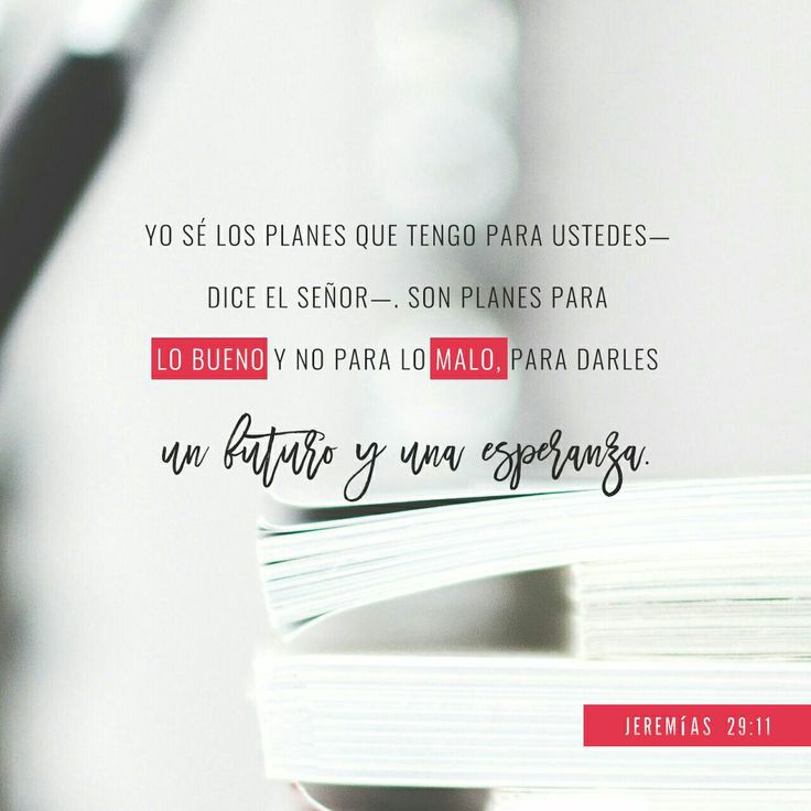 Pues yo sé los planes que tengo para ustedes —dice el S eñor —. Son planes para lo bueno y no para lo malo, para darles un futuro y una esperanza. Jeremías 29:11