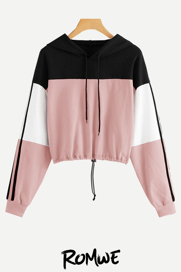 SweatyRocks Womens Casual Lace Up Long Sleeve Pullover Crop Top Sweatshirt