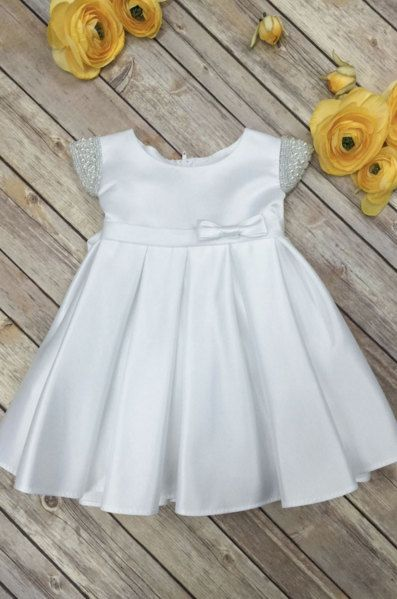 Ivory Baby Dress Baby Baptism Dress White baby by BabyGalore0