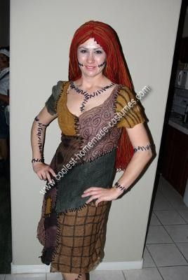 Homemade Nightmare Before Christmas Sally Adult Halloween Costume: This is the Nightmare Before Christmas Sally Adult Halloween Costume I made for myself in 2008. It started with a dress found on clearance for $10 that  great dress!
