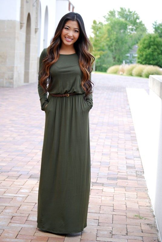 Made in USA! This maxi dress has long sleeves & comes with a dark braided belt. Soft & Stretchy Material (NOT SHEER)2 Side pockets to each side and an Elastic waist. Great for everyday wear with a pair of sandals, flats, boots or dress it up with some cute heels!Easy to dress it up just add a Scarf or necklace!  Runs True to Size S 0-4 M 6-8 L 10-12MEASUREMENTS: The Dimensions are given with each garment lying flat on a hard surface. Keep in Mind ~ The listed Me...