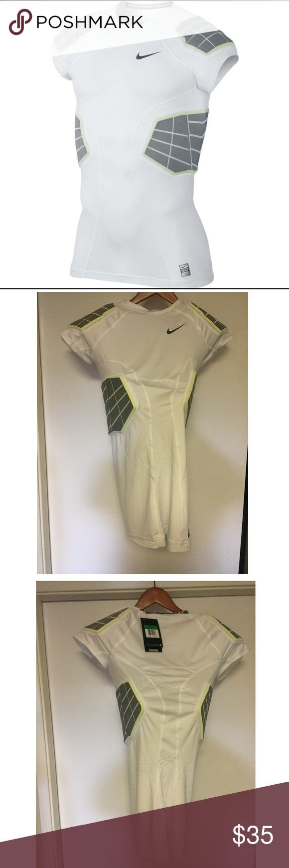 Nike Pro Combat Hyperstrong 4 Pad Football Shirt Brand : Nike  Color : White/Grey-Volt   Size : Men's XL    4 Pads    BRAND NEW WITH TAGS Nike Shirts Tees - Short Sleeve