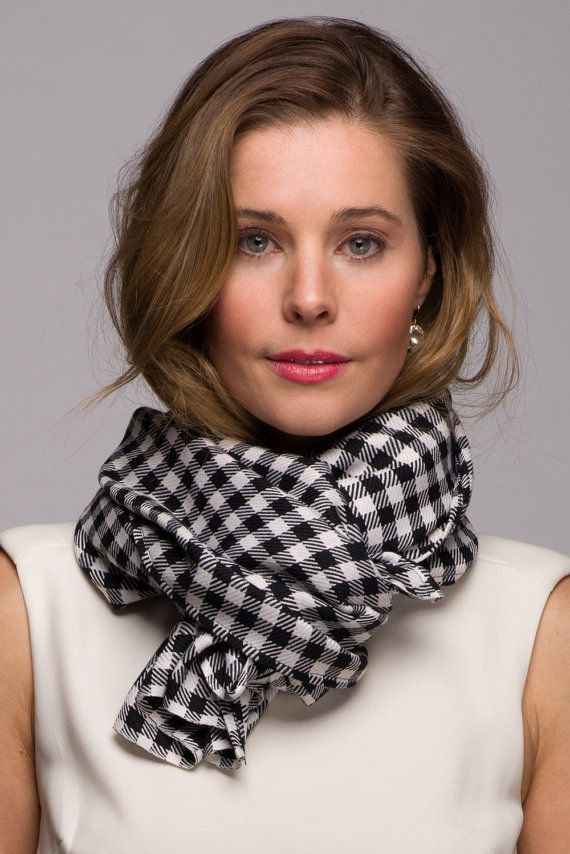 Black and White Soft Checker Scarf Lightweight by WICKandPoppy on Etsy, $59.49
