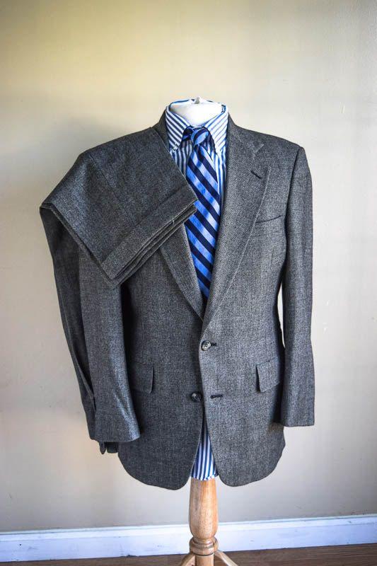 ON SALE Mens Vintage Suit Birds Eye Gray Wool by Austin Reed 38R