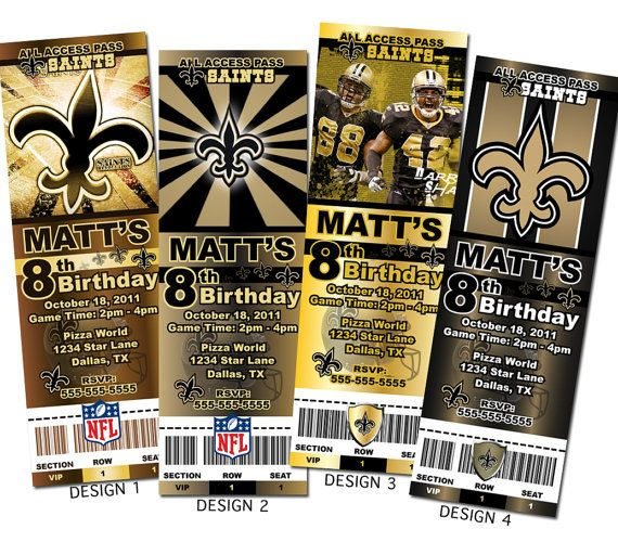 New Orleans Saints NFL Custom Party Ticket Invitations On Etsy 899