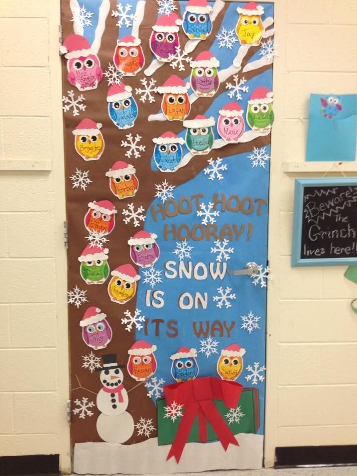 Owl Christmas Holiday Classroom Door