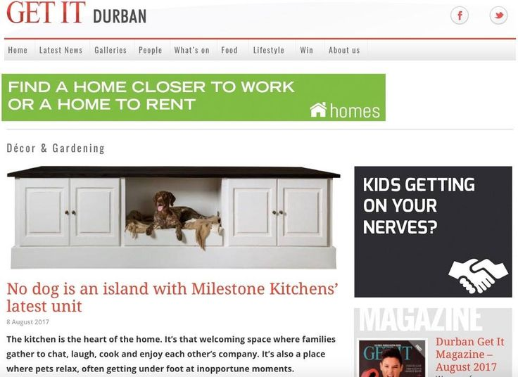 THE NINA ISLAND by MILESTONE KITCHENS To read more about our new Nina Island go to http://durban.getitonline.co.za/2017/08/08/no-dog-island-milestone-kitchens-latest-unit/#.WYnRSdOGORs #KitchenIslands #Kitchen #freestandingkitchens #petfriendly