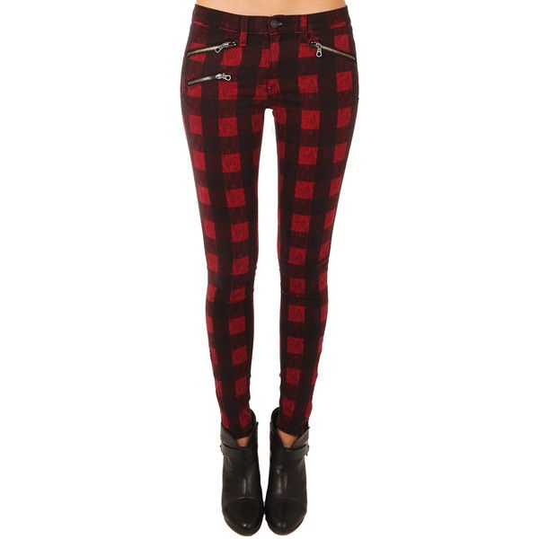 Rag & Bone OVD Red Buffalo Plaid Pants ($185) ❤ liked on Polyvore featuring pants, bottoms, ragandbone jean, women, slit pants, red cotton pants, cotton trousers, red trousers and rag & bone