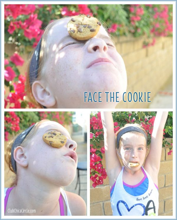 Objective: Using only your facial muscles, each player must move a cookie from the top of their head, down their face, and into their mouth without dropping the cookie