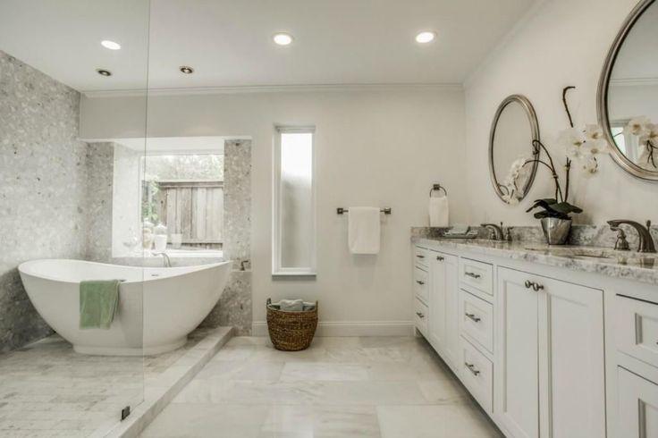 Contemporary Master Bathroom with Double sink, Complex Granite, Crown molding, Freestanding, Undermount sink, Master bathroom