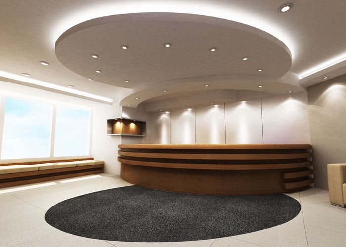 office reception lighting reception area