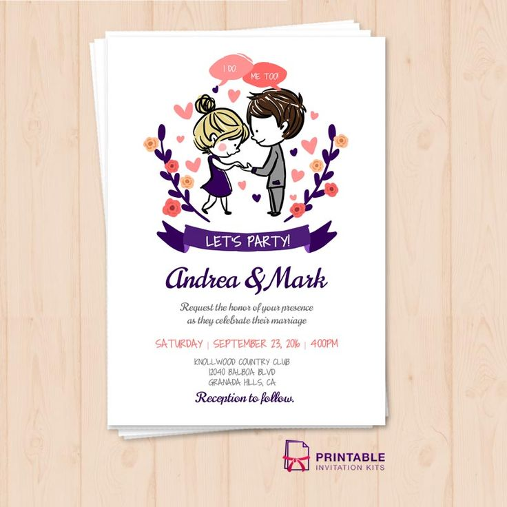 Free Pdf I Do Me Too Let S Party Wedding Invitation Template To