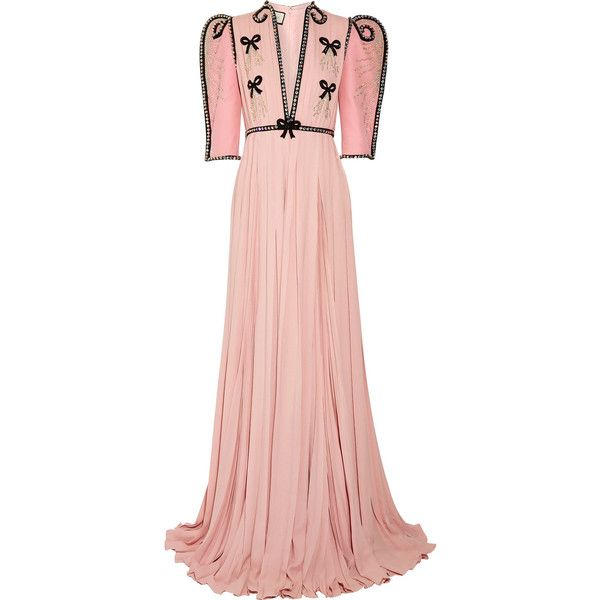 Gucci Swarovski crystal-embellished wool and silk-blend and... (31,890 CAD) ❤ liked on Polyvore featuring dresses, gowns, pastel pink, pink chiffon gown, chiffon dress, flower dress, pastel pink dresses and pink ball gown