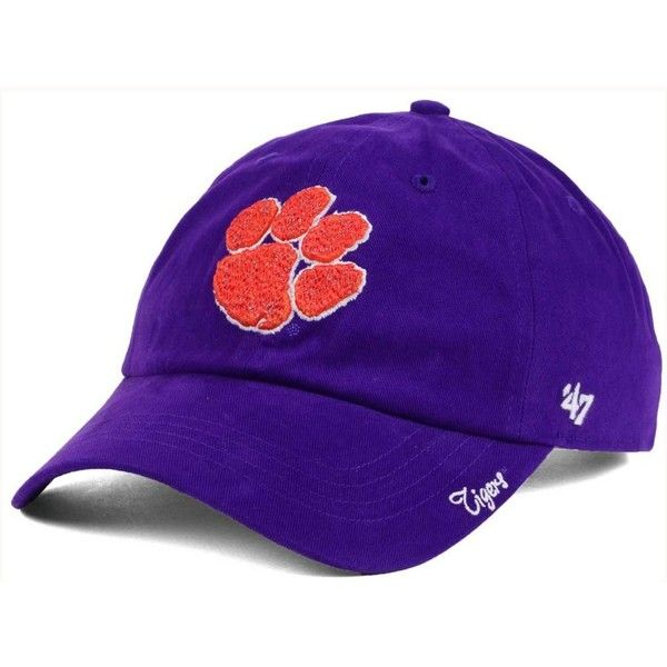 '47 Brand Women's Clemson Tigers Shine On Cap ($25) ❤ liked on Polyvore featuring accessories, hats, purple, purple hat, embroidered hats, embroidery hats, cap hats and '47 brand