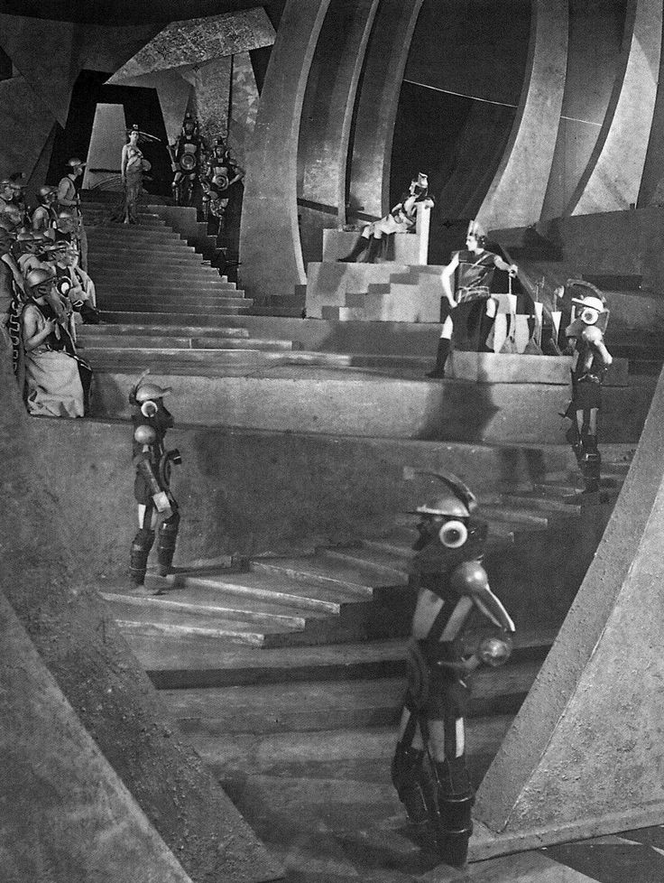 Martian architecture and style via the Soviet sci-fi film Aelita (1924, dir. Yakov Protazanov).  Constructivist-style sets designed by Alexandra Exter.