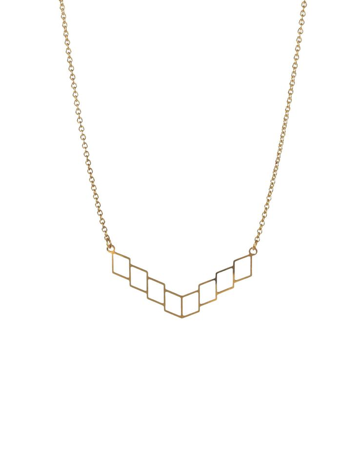 Korte gouden geometrische ketting // minimalist ketting met chevrons // abstract design// modern juwelen // Emma et moi juwelen door EmmaETmoi op Etsy