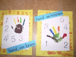 verf je eigen hand en stempel de cijfer van je leeftijd erbij.