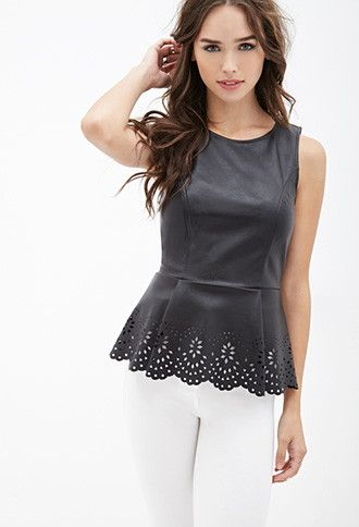 Faux Leather Peplum Top | Forever 21 - 2000120689