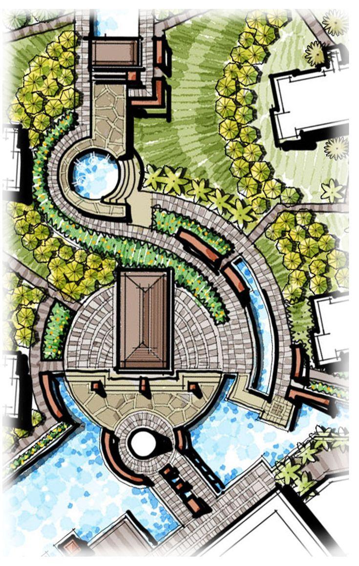 Pavilion, Landscape Gate, Central Landscape, Curving Landscape, Pavers