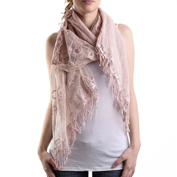 SCARF IN LIGHT PINK COLOR WITH LACE - Scarfs/Sun Dresses