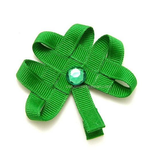 Whether Irish for a day, or Irish born and bred -  Woven Celtic inspired Shamrock Hair Clip or Headband by My Sweetie Bean