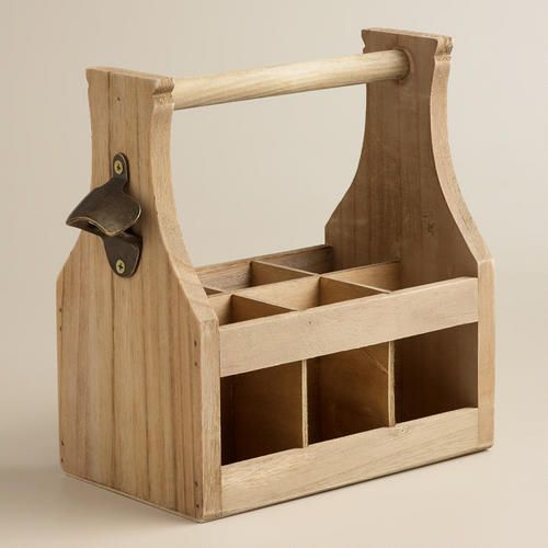 Wooden Bottle Caddy with Opener via Cost Plus World Market >> #WorldMarket Outdoor, Entertaining, Picnic Accessories, Glamping, Camping Ideas