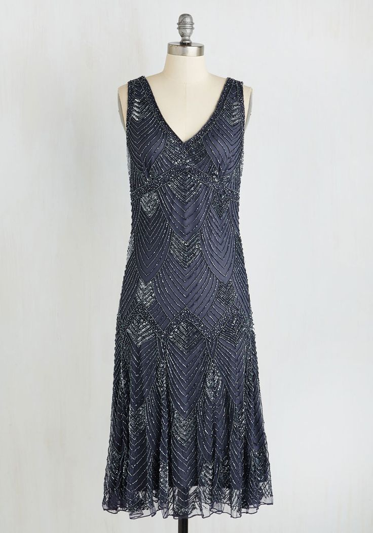 Enigmatic Essence Dress. As you enter the event in this brilliantly beaded midi, youre followed by an air of mystery! #blue #modcloth