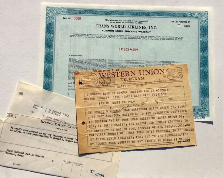 2 pg. WESTERN UNION TELEGRAM FROM HOWARD HUGHES REGARDING TWA AND $12,000,000 #WesternUnion