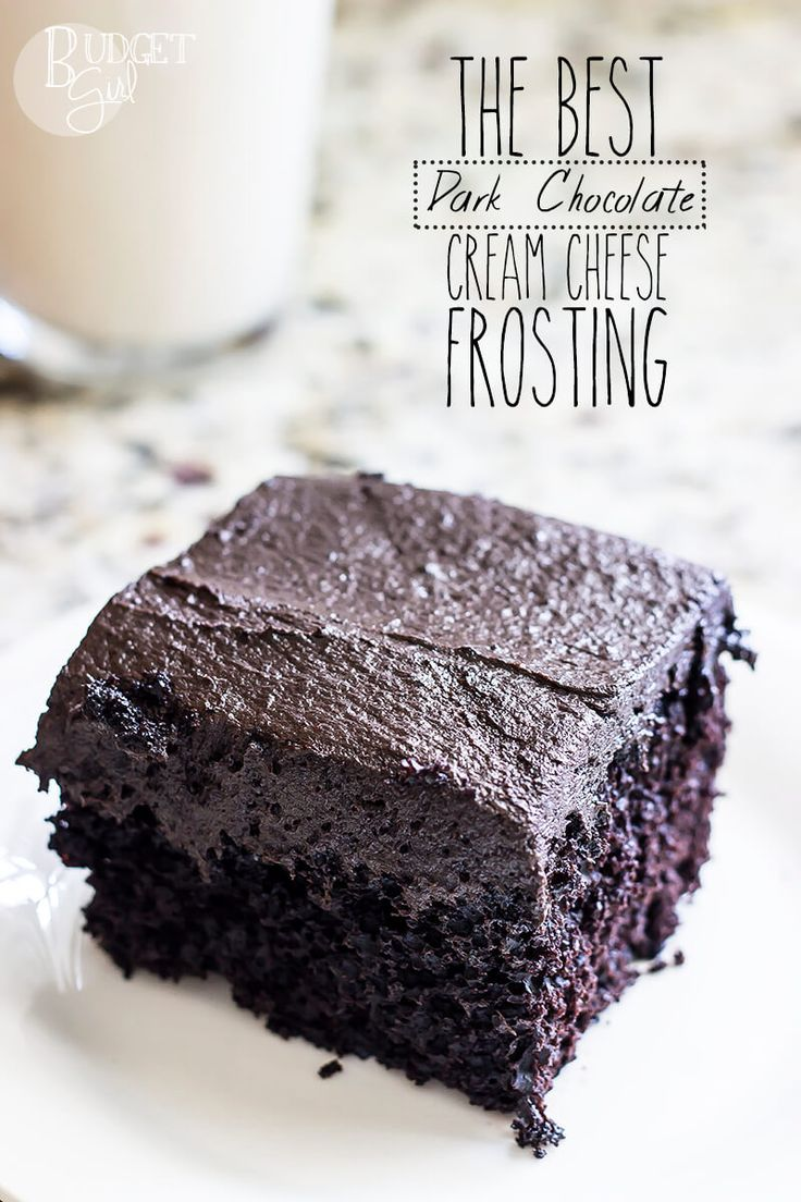 The BEST dark chocolate cream cheese frosting tastes just like a bar of dark chocolate. It has half as much sugar as most recipes call for, because frosting doesn't need to be so sweet that it overpowers the entire cake.