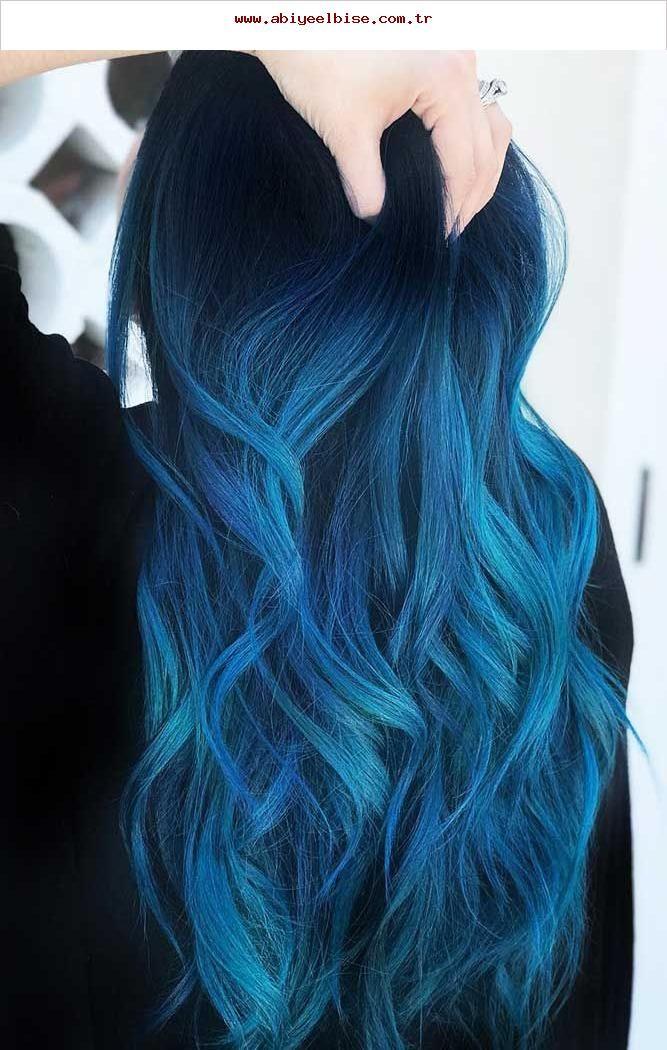 Indigo Blue Black Bluehair Ombre Brunette Blue Black Hair