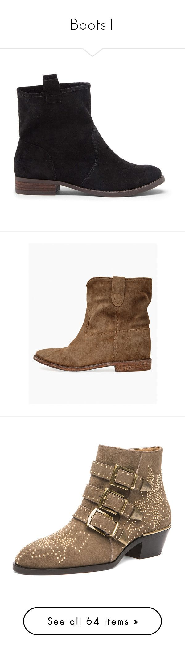 """""""Boots1"""" by caroovargas ❤ liked on Polyvore featuring shoes, boots, ankle booties, wedge bootie, short brown boots, brown boots, ankle boots, wedge heel boots, taupe and taupe suede booties"""