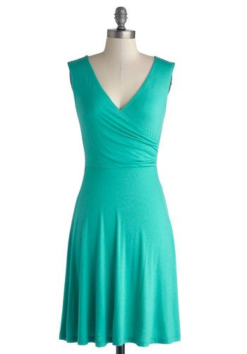 Cheers to You Dress in Turquoise, #ModCloth (option 2: this with black crop jacket, black waist cinch, black knee-high boots)