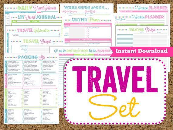 INSTANT DOWNLOAD Travel Printables Vacation by HappyOrganizedLife