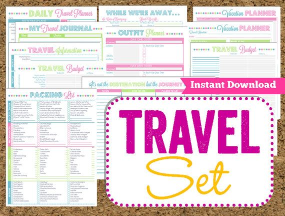 INSTANT DOWNLOAD Travel Printables- Vacation Planner-14 Pdf Printable Sheets