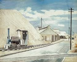 """Cement Works"" by Eric Ravilious, 1934. Whilst staying at Furlongs on the South Downs, Peggy Angus and Eric Ravilious made the nearby Asham Cement Works their unlikely subject, he painting in watercolour and her in oil."