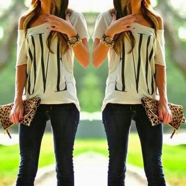 Wholesale Stylish One-Shoulder Letter Print Short Sleeve T-Shirt For Women Only $4.99 Drop Shipping   TrendsGal.com