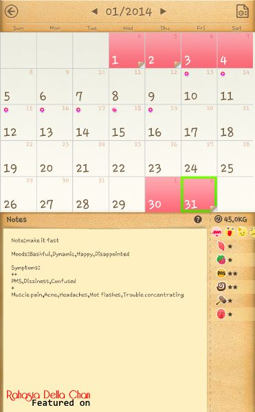 Aplikasi Period Calendar { Untuk Mengetahui Masa Menstruasi } - Rahasia Della Azizah Munawar - Google Play Store - Aplikasi Android