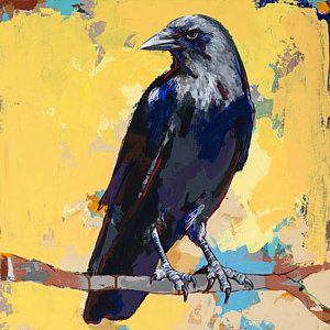 Bird Painting - Crow #4 by David Palmer