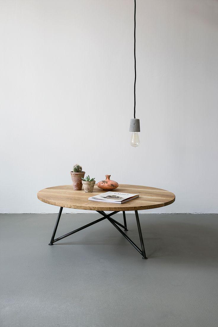 Oak Steel Sofa Table by NUTSANDWOODS
