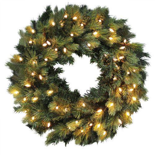 24Inch Pre-Lit Christmas Door Weath Green Artificial Pine Hanging Wall Decor New #SmartDealsMarket