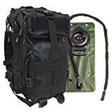 Small Tactical Bug Out Bag Backpack -2.5 Liter Hydration Water Bladder System Included by Monkey Paks (Black)