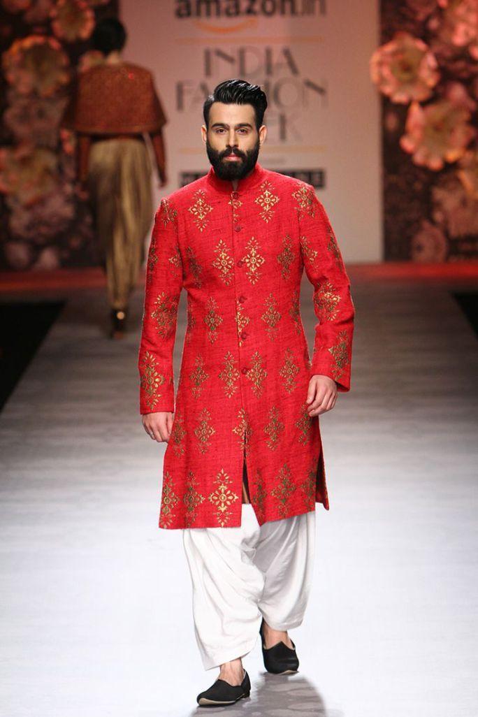 Sherwani - Siddhartha Tyler - Crimson Red sherwani with gold motifs - Amazon India Fashion Week Spring-Summer 2016