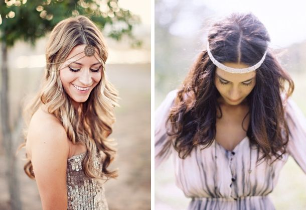 1- Clayton Austin; 2- Jose Villa/Moon Canyon Design/Jeannie Vincent via Style Me Pretty | Boho Hair Inspiration #wedding #boho