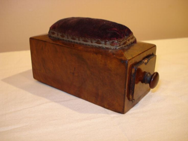 Vintage 1845 Wooden Sewing Box with Needle Pad | eBay