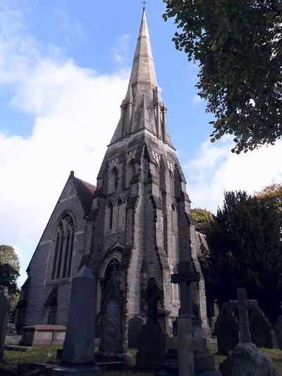 The Gothicstyle spire of St Michael the Archangel , Rushall, Walsall, England.