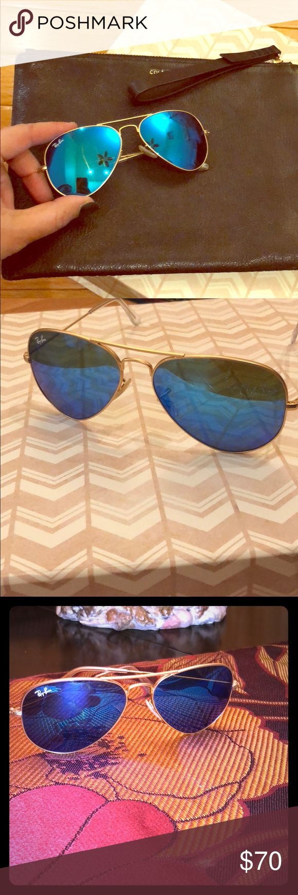 Ray ban blue flash mirror aviators (54mm) Ray ban mirrored aviators (54mm) in gold trim.  The frame is gold and the lens color is 'blue flash'   Comes with its case. Authentic. Ray-Ban Accessories Glasses