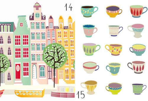love this kind of art <3: Amiss Etsy, Diy Geometric, Color, Graphics Illustrations, Etsy Prints, Graphics Design, Illustration Prints, Prints Round, Teacups