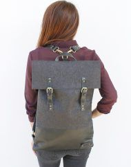 Unisex flat black cork and black leather backpack